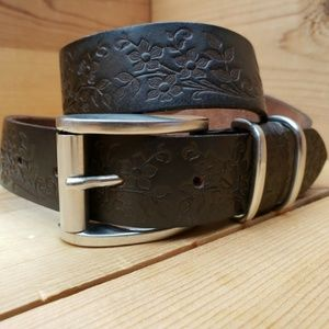 Leather Floral Embossed Brown Belt Silver buckle